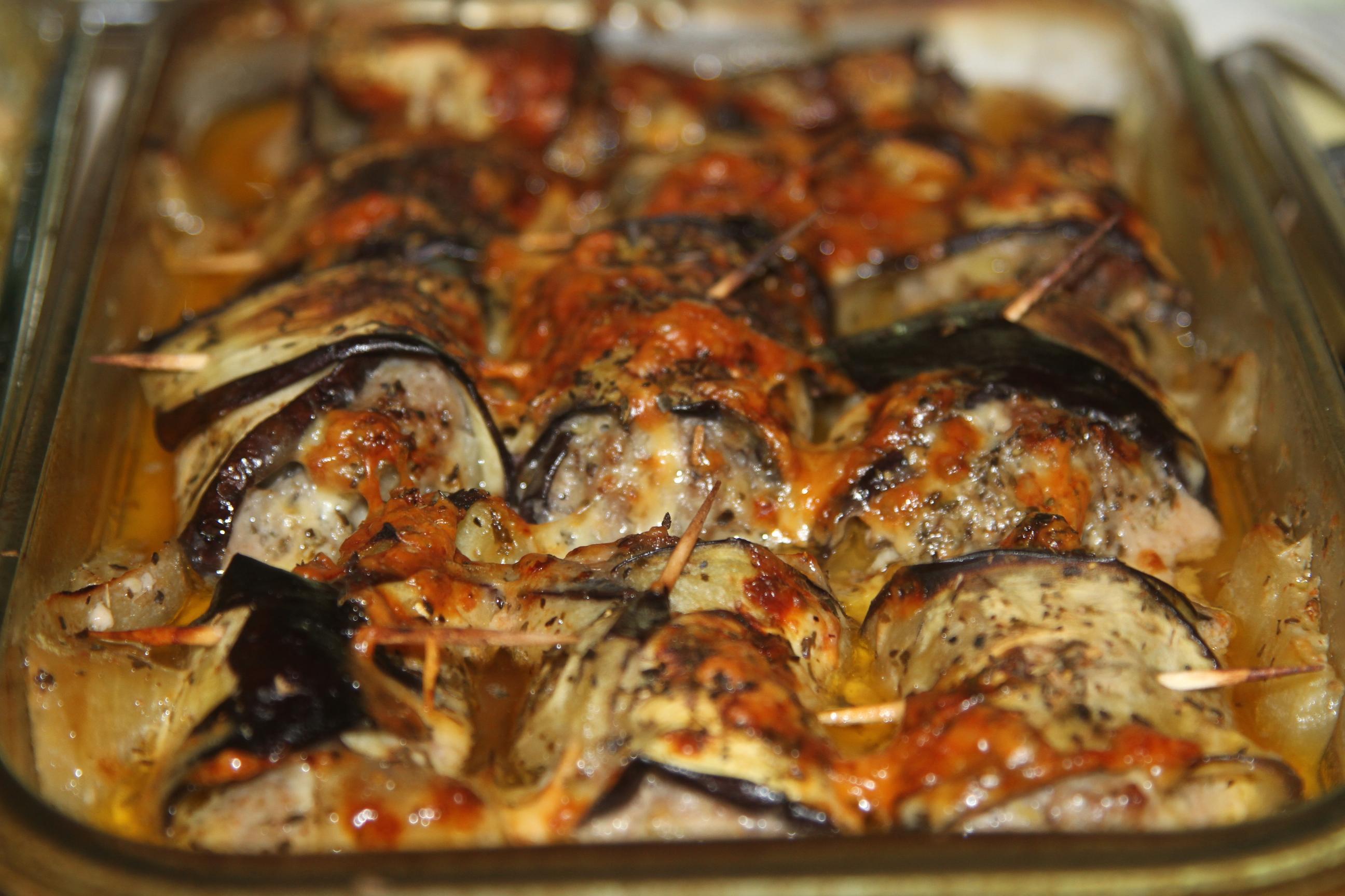 bakłażanowe roladki z mięsem