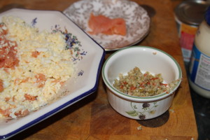 pasta z łososiem i oliwkami