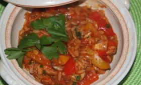 Schab na ostro z ryżem